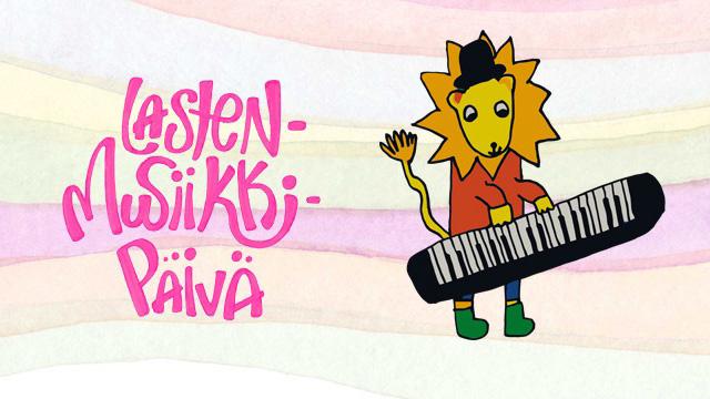 Lastenmusiikkipäivän kuvituskuva, jossa leijona soittaa kosketinsoittimia.