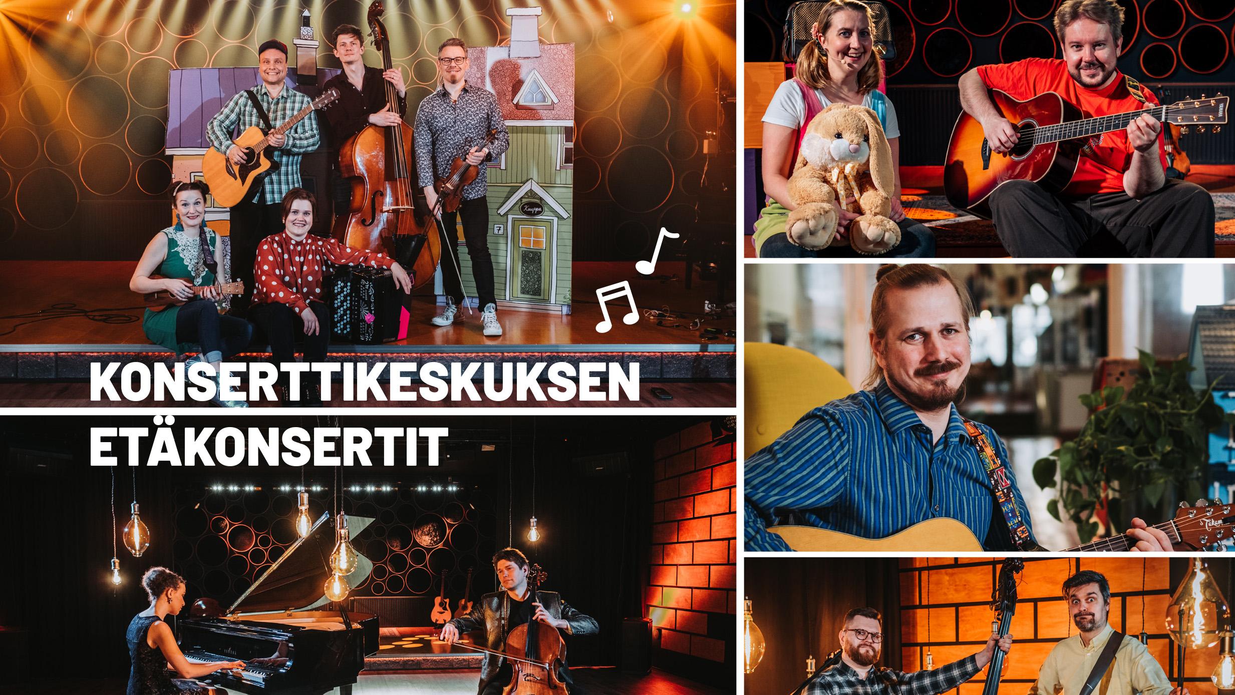 Kuvassa Konserttikeskuksen yhtyeitä etäkonserttien kuvauksista.