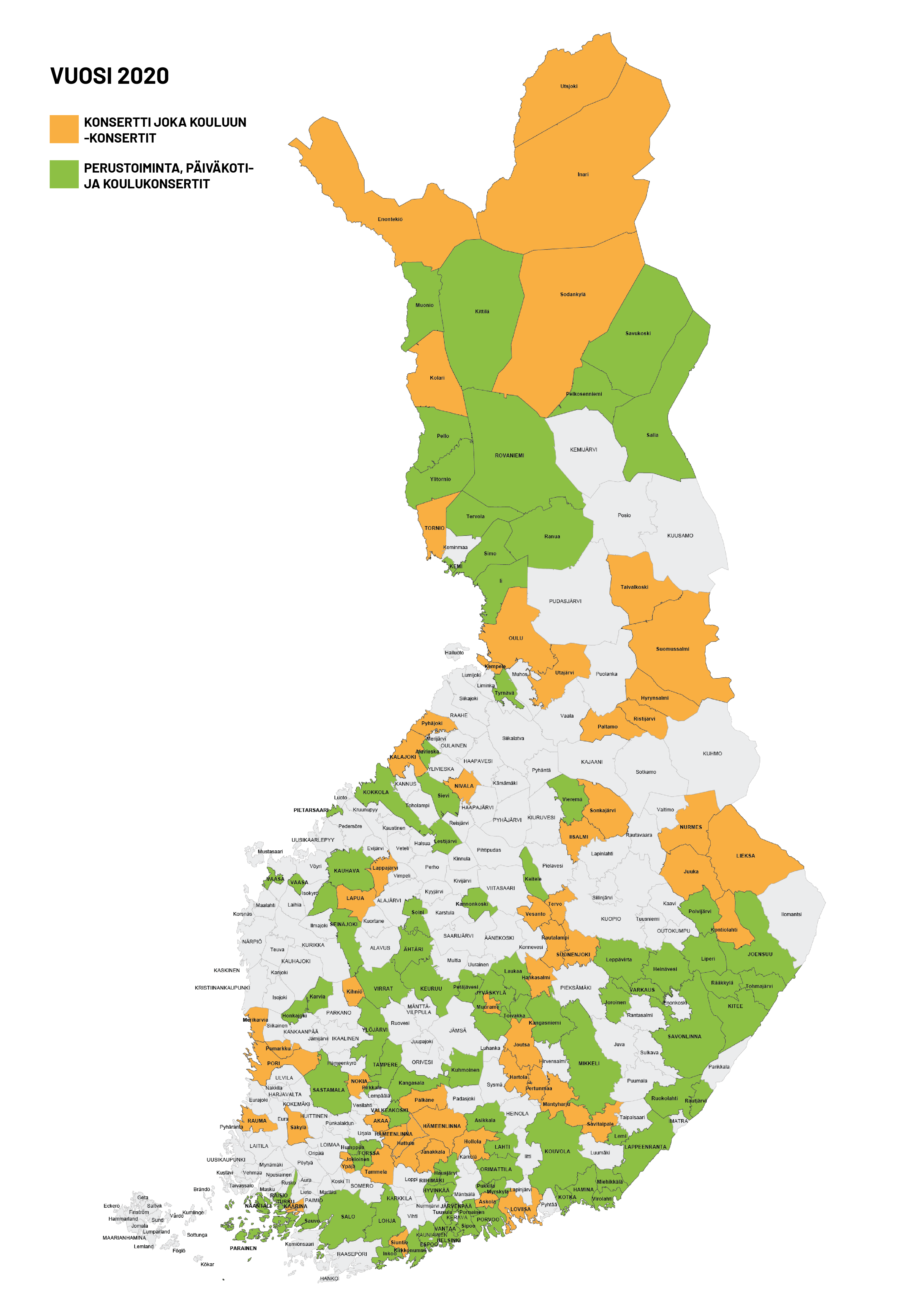 Kuva Suomen kartasta, johon merkitty listan mukaiset KJK-kunnat.