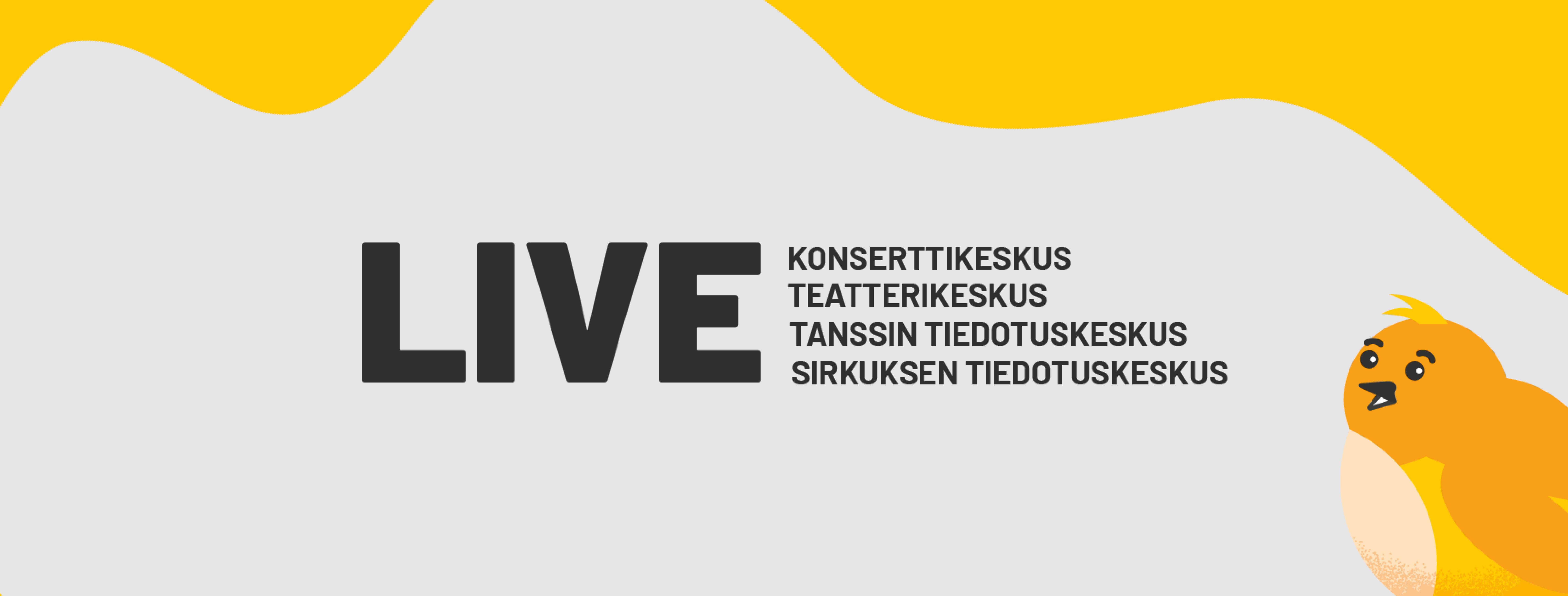 Live-hanke kuvituskuva, jossa logo ja lintu